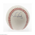 Autographs:Baseballs, Barry Bonds Single Signed Baseball. Blue ink side panel signatureis 10/10. Ball is ONL (White). LOA from Steve Grad & Z...