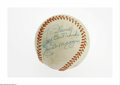"Autographs:Baseballs, Joe DiMaggio Single Signed Baseball. Side panel inscription reads,""To David with Best Wishes, Joe DiMaggio."" Ink is 8/10...."