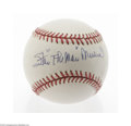 "Autographs:Baseballs, Stan ""The Man"" Musial Single Signed Baseball. Perfect blue inksweet spot signature on an ONL (White) ball. LOA from Stev..."