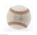 Autographs:Baseballs, Nolan Ryan Single Signed Baseball. Perfect blue ink sweet spotsignature on an OAL (Budig) ball. LOA from Steve Grad & Za...