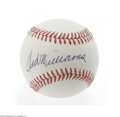 Autographs:Baseballs, Ted Williams Single Signed Baseball. Perfect blue ink sweet spot signature on an OAL (Brown) ball. LOA from Steve Grad & ...