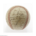 "Autographs:Baseballs, 1945 New York Yankees Team Signed Baseball. Twenty-eight signatureson an ""Official American Association"" ball include Cros..."