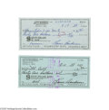 Autographs:Checks, 1988-89 Lou Boudreau Signed Checks Lot of 2. All ink in Boudreau'sNM-MT hand. LOA from Steve Grad & Zach Rullo/ PSA DNA....