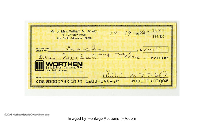 1985 Bill Dickey Signed Check Filled Out And Signed Entirely Lot - Check-filled-out