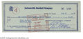 "Autographs:Checks, 1959 Bill Terry Signed Check. Perfect blue ink signature on this""Jacksonville Baseball Company"" check. LOA from Steve Gr..."