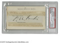 Autographs:Index Cards, Kenesaw Mountain Landis Cut Signature. Perfect black ink signature was clipped from some sort of correspondence and affixed...