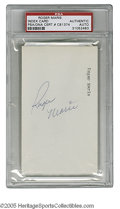 """Autographs:Index Cards, Roger Maris Signed Index Card. Perfect blue ink signature on unlined side of 3x5"""" index card. LOA from Steve Grad & Zach ..."""