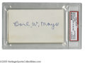 """Autographs:Index Cards, Carl Mays Signed Index Card. Perfect blue ink signature on blank side of 3x5"""" index card. LOA from Steve Grad & Zach Rull..."""