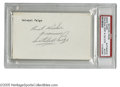 """Autographs:Index Cards, Satchel Paige Signed Index Card. Perfect black ink signature on unlined side of 3x5"""" index card. LOA from Steve Grad & Za..."""