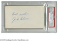 """Autographs:Index Cards, Jackie Robinson Signed Index Card. Perfect blue ink signature onblank side of 3x5"""" index card. LOA from Steve Grad & Zac..."""