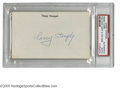 "Autographs:Index Cards, Casey Stengel Signed Index Card. Perfect blue ink signature onunlined side of 3x5"" index card. LOA from Steve Grad & Zac..."