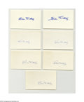 "Autographs:Index Cards, Bill Dickey Signed Index Cards Lot of 7. All in Mint ink or sharpieon unlined side of 3x5"" index card. LOA from Steve Gr..."