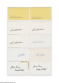 "Autographs:Index Cards, Hall of Famers Signed Index Cards Lot of 32. All in Mint ink orsharpie on unlined side of 3x5"" index card. Boudreau (6), F..."