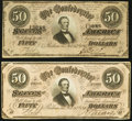 Confederate Notes, T66 $50 1864 PF-5 Cr. 498 Two Examples.. ... (Total: 2 notes)