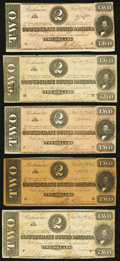 Confederate Notes, T70 $2 1864 PF-5 Cr. 567.. ... (Total: 5 notes)