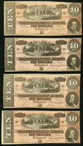 Confederate Notes, T68 $10 1864 PF-27 Cr. 548 Four Examples.. ... (Total: 4 notes)