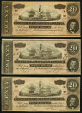Confederate Notes, Low Serial Number T67 $20 1864 PF-12 Cr. 512 Three Examples.. ... (Total: 3 notes)