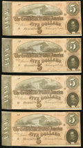 Confederate Notes, T69 $5 1864 PF-10 Cr. 564 Four Consecutive Examples.. ... (Total: 4 notes)