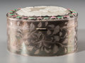 Asian:Chinese, A Chinese Export Jade Plaque and Hardstone Mounted Silver VanityBox, early Republic Period. Marks: SILVER. 2-3/4 h x 5 ...