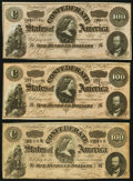 Confederate Notes, T65 $100 1864 Three Examples.. ... (Total: 3 notes)