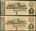 Confederate Notes, T69 $5 1864 PF-10 Cr. 564 Two Consecutive Examples.. ... (Total: 2 notes)