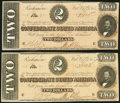 Confederate Notes, T70 $2 1864 PF-5 Cr. 567 Two Examples.. ... (Total: 2 notes)
