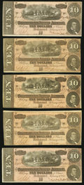 Confederate Notes, T68 $10 1864 Thirteen Examples.. ... (Total: 13 notes)