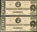 Confederate Notes, T70 $2 1864 PF-5 Cr. 567 Two Consecutive Examples.. ... (Total: 2 notes)