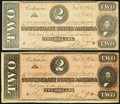 Confederate Notes, T70 $2 1864 PF-1 Cr. 569 and PF-6 Cr. 568.. ... (Total: 2 notes)