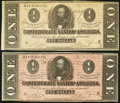 Confederate Notes, T71 $1 1864 PF-4 Cr. 577. Two Examples.. ... (Total: 2 notes)