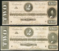 Confederate Notes, T70 $2 1864 PF-5 Cr. 567. Two Examples.. ... (Total: 2 notes)