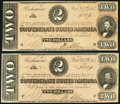 Confederate Notes, T70 $2 1864. PF-5 Cr. 567. Two Examples. ... (Total: 2 notes)