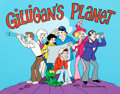 Animation Art:Presentation Cel, Gilligan's Planet Publicity Cel and Painted Background(Filmation, 1982)....