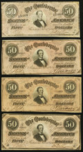 Confederate Notes, T66 $50 1864 Four Examples.. ... (Total: 4 notes)