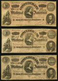 Confederate Notes, T65 $100 1864 PF-1 Cr. 490, Three Examples.. ... (Total: 3 notes)
