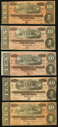 Confederate Notes, T68 $10 1864 PF-38 Cr. 550. Five Examples.. ... (Total: 5 notes)
