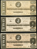 Confederate Notes, T70 $2 1864 PF-5 Cr. 567. Three Examples.. ... (Total: 3 notes)