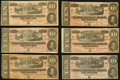 Confederate Notes, T68 $10 1864 PF-20; PF-27 (4); PF-31.. ... (Total: 6 notes)