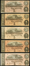 Confederate Notes, T69 $5 1864 PF-9 (3); PF-10 (2).. ... (Total: 5 notes)