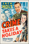 "Movie Posters:Crime, Crime Takes a Holiday (Columbia, 1938). One Sheet (27"" X 41""). Crime.. ..."