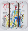 Fine Art - Work on Paper:Print, After Jean-Michel Basquiat X The Skateroom. Robot, triptych (Open Edition), 2016. Screenprints in colors on skate decks... (Total: 3 Items)