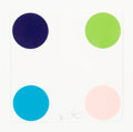 Fine Art - Work on Paper:Print, Damien Hirst (b. 1965). Ammonium Sulfmate, from 40 Woodcut Spots, 2011. Woodcut in colors on wove paper. 6 x 6 inche...