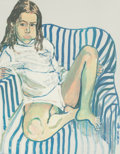 Fine Art - Work on Paper:Print, Alice Neel (1900-1984). Portrait of Girl in Blue Chair, c.1970. Screenprint in colors on paper. 27 x 21 inches (68.6 x ...