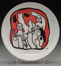 After Fernand Léger Untitled (Figures in red), c. 1970s Ceramic plate in colors 9-1/2 inch (24.1