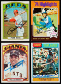 Autographs:Sports Cards, 1972-76 Topps Signed Stars & HoFers Quartet (4) - Aaron (2),Mays and Rose!...