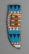 American Indian Art:Beadwork and Quillwork, A Blackfoot Beaded Hide Knife Sheath. c. 1890. ...