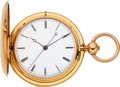 Timepieces:Pocket (pre 1900) , Swiss High Jeweled Two Train Center Seconds 18k Gold Watch. ...