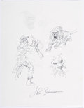 Original Comic Art:Sketches, John Buscema Hunter, Lion, and Gorilla Two-Sided Sketch Original Art (c. 1990s)....