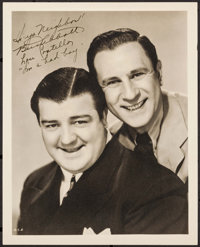 "Abbott and Costello (1940s). Autographed Portrait Photo (8"" X 10""). Comedy"