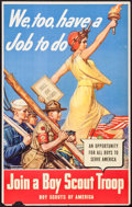 """Movie Posters:War, World War II Boy Scout Recruitment Poster by Remington Schuyler(U.S. Government Printing Office, 1942). Poster (16.5"""" X 26...."""